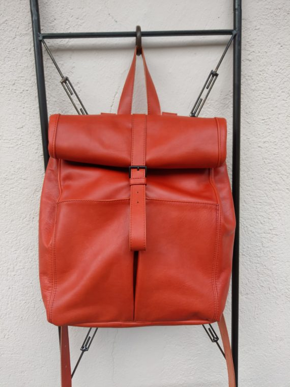 kara red leather backpack