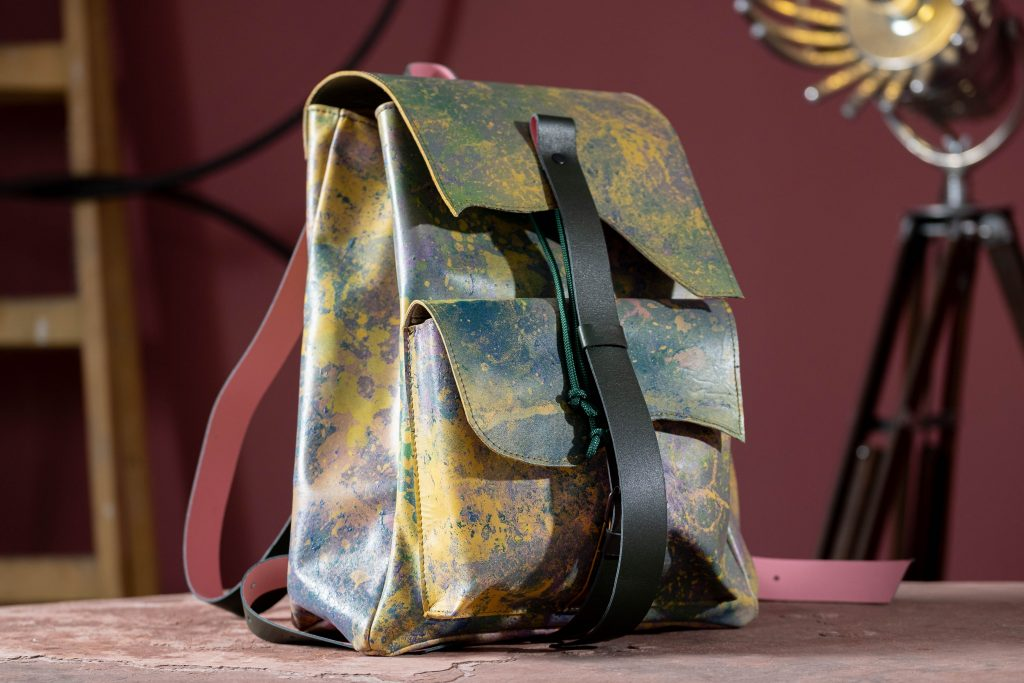 handmade unique leather backpack