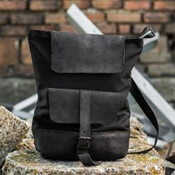 all black leather and line backpack