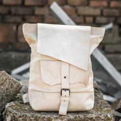all white leather and line backpack
