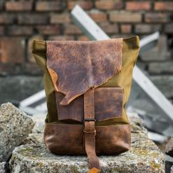 leather and line backpack