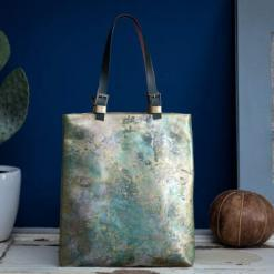 painted leather tote bag