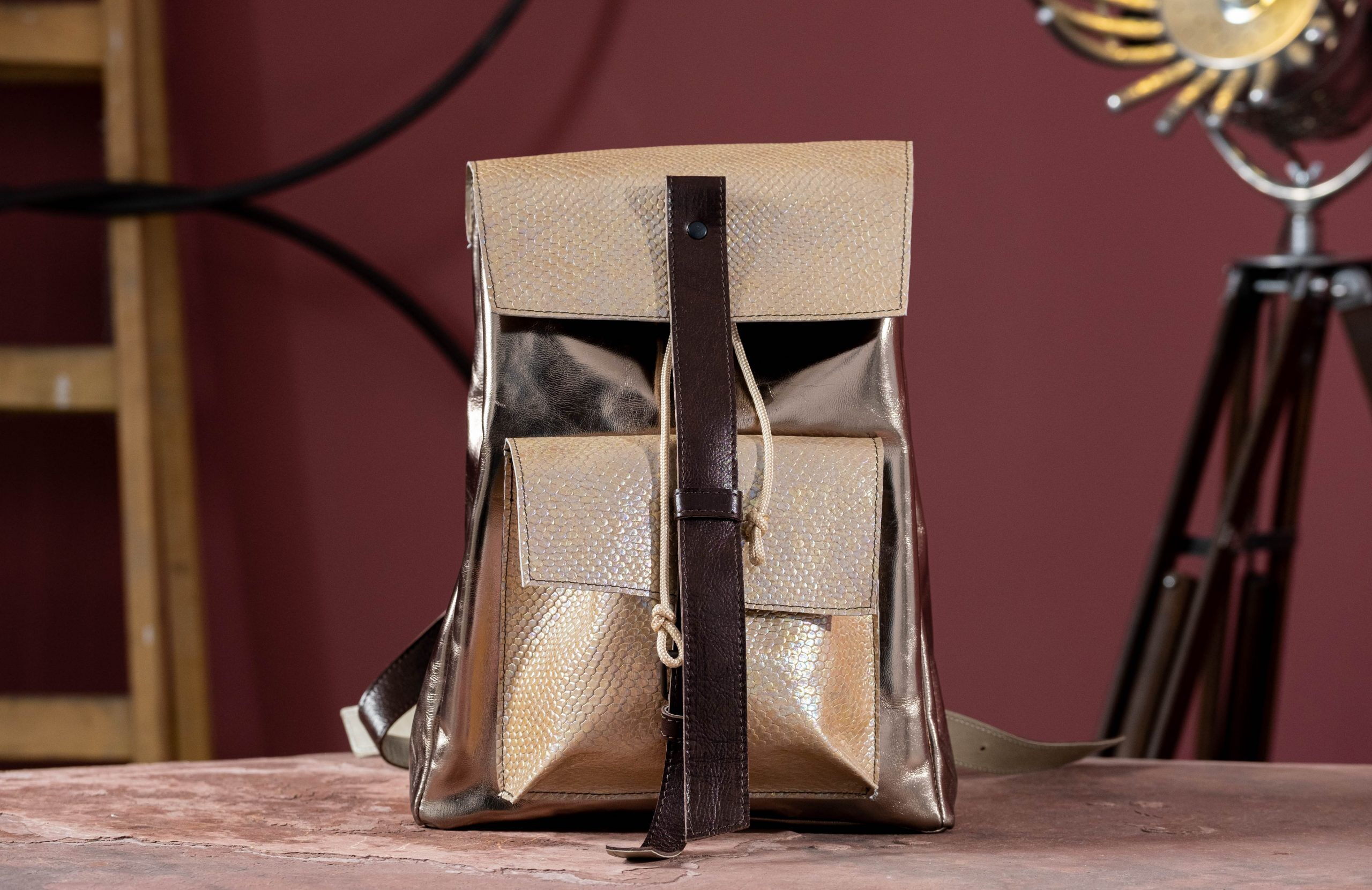 Ivory leather Backpack