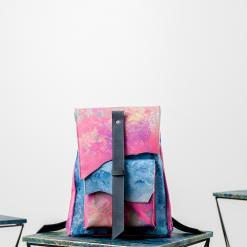 leather backpack in blue and pink