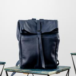blue leather roll-top backpack