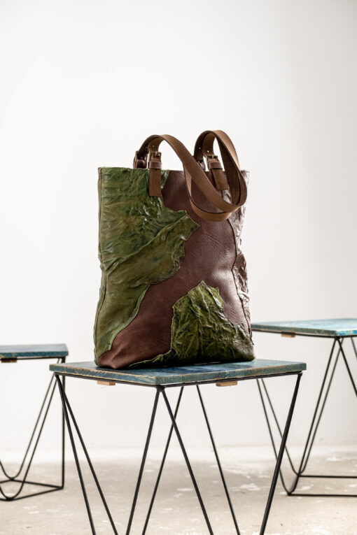 tote leather bag in brown and lush green