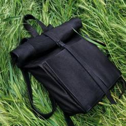 black roll-top leather backpack