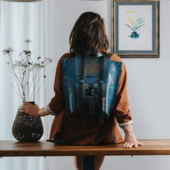 product photo for a leather backpack