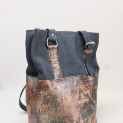 koja leather shopper bag with round base grey and camel with silver accents