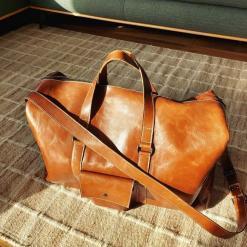 koja leather duffel bag warm brown