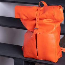 koja leather rolltop laptop backpack