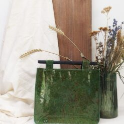 mini leather bag with wooden handles
