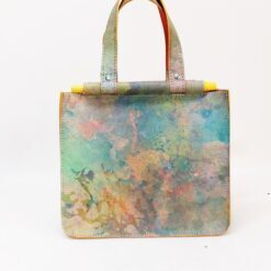 colourful yellow mini leather bag with wooden handles