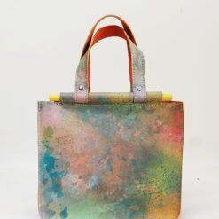colourful mini leather bag with wooden handles