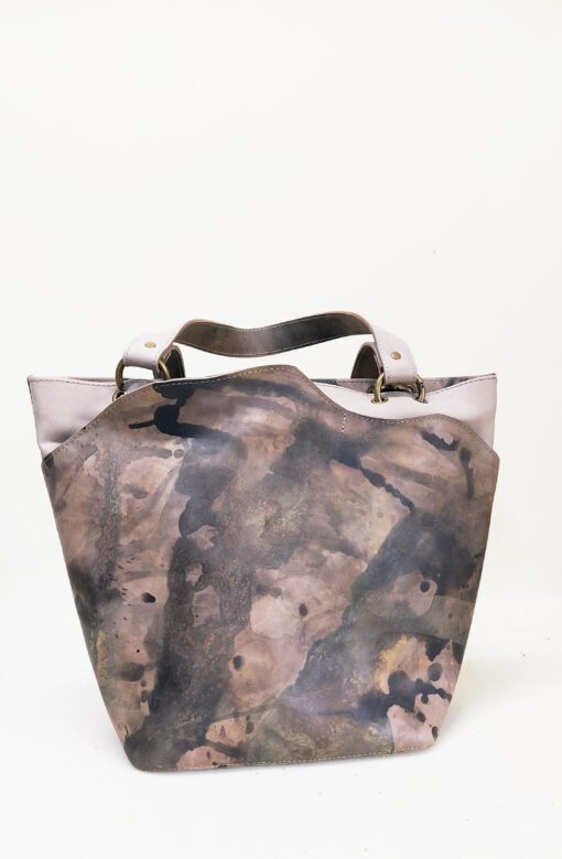 nude leather shopper bag with brown and gold accents