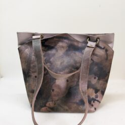 leather shopper bag in mude with brown and gold accents