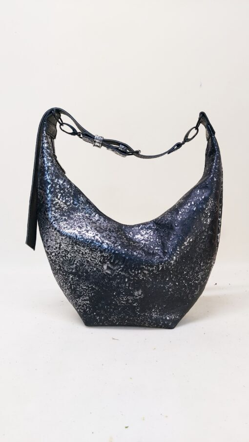 Koja leather shoulder bag moon shaped in silver and black