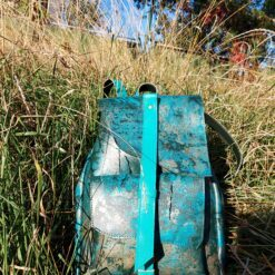 Koja leather backpack painted in aquamarine turquoise gold