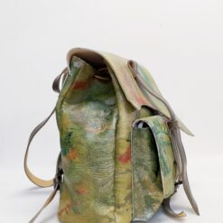 Koja leather sand colour backpack with orange and green