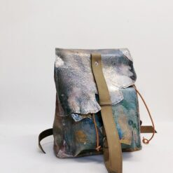 Koja leather backpack in grey, petrol, golden and beige
