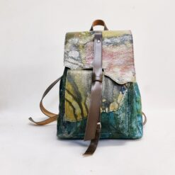 Koja green leather backpack in autumn colours