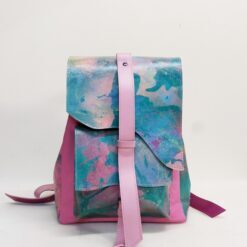 koja pink and green leather backpack made