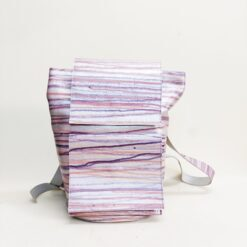 Product photo silver leather backpack with pastel colour rain
