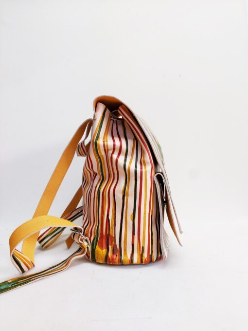 Leather backpack with melted rainbow effect