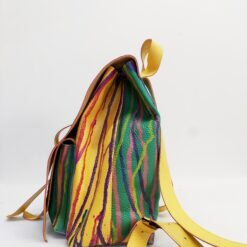 koja yellow and green leather backpack melted rainbow