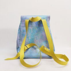 Koja blue leather backpack painted in paste colours