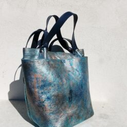 leather shopper bag in metalic blue with silve and copper accents
