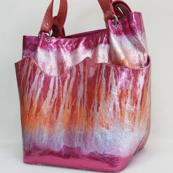 leather shopper bag in metalic pink with silver and orange pattern like flames